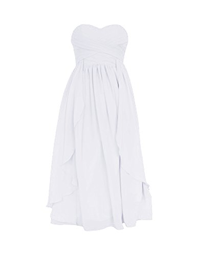 Diyouth Short Knee Lenghth Sweetheart Chiffon Formal Bridesmaid Dress Ruffle White Size 26W