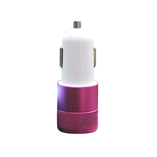 2ポート 車載充電器 アルミ合金タイプ 超小型2ポートUSB充電器 12V-24V mini USB 2台同時充電対応 全機種スマホ対応 (レッド)