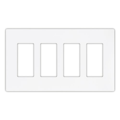 Cooper Wiring Devices 9524WS Aspire Screwless Wallplate, 4-Gang, White Satin