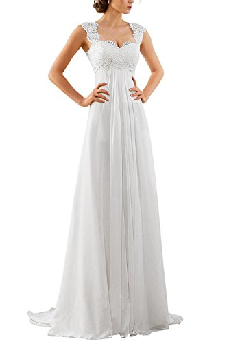 Erosebridal 2016 New Sleeveless Lace Chiffon Wedding Dress Bridal Gown Size 8 White