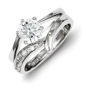 Genuine IceCarats Designer Jewelry Gift Sterling Silver 2 Pc. Cz Ring Set Size 8.00