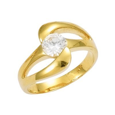18K Gold Plated Clear Cubic Zirconia 10 mm Solitaire Band Engagement Ring - Size 10