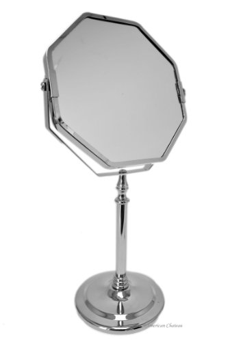 Hotel Octagonal Chrome Bathroom 2X Magnification Vanity 2-Sided Pedestal Mirror