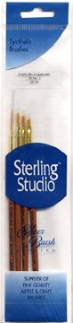 Silver Brush SS-110 Sterling Studio Golden Taklon Short Handle Round Brush Set, 4 Per Pack
