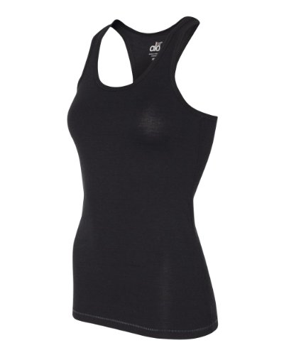Alo W2006 Womens Bamboo Racerback Tank - Black & Slate, Small (Alo Tank Top compare prices)
