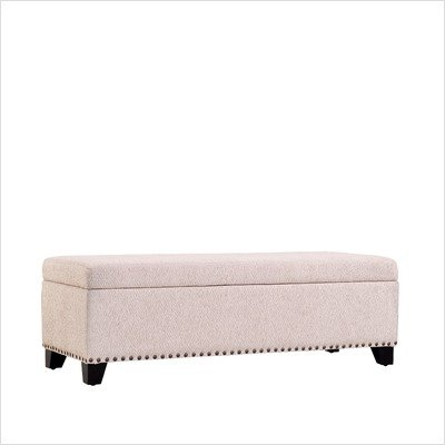 Special Price!!! Kent Chenille Storage Bench Ottoman in White