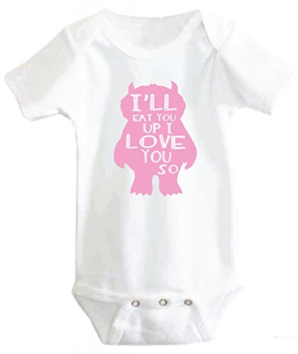 Little Adam And Eve Baby Girls I'Ll Eat You Up Where The Wild Things Are Onesie 0-3 Months White