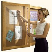 Best-Rite Wood Trim Enclosed Bulletin Board Cabinet, 2 Hinged Door, 36