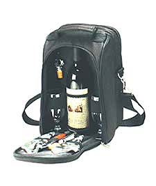 Del Mar Two Person Wine & Cheese Tote in Black