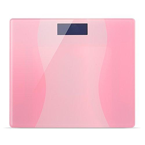 """iRegro alta precisione scala bagno traccia digitale di memoria con """"Smart Step-On"""" e la tecnologia traccia di memoria, ultra sottile 2,3 CM -180 kg Spessore - Colore piattaforma di vetro (colore rosa)"""