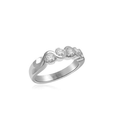 0.60 carat Diamond Half Eternity Ring for Women. H/SI1 Round Brilliant Diamonds in Rub Set Setting in 18ct White Gold