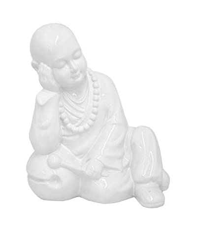 Three Hands White Ceramic Monk Statue