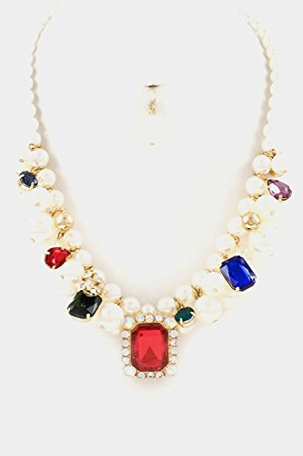 Glitz Finery Pearl Cluster With Rectangular Crystal Accent Necklace Set (Multi)