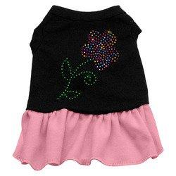 Rhinestone Mulit Flower Dress Black with Pink Sm (10) hip doggie pink earmuff dress