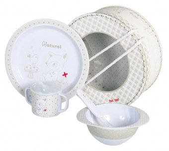 Baby Feeding Dinnerware Set. Plate, Bowl,Cup and Spoon. Natural Collection