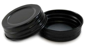 Black Vintage Reproduction Lids for Regular Mouth Mason, Ball, Canning Jars, 4 Pack