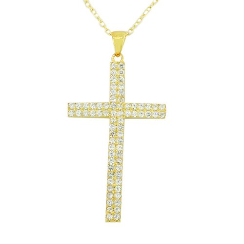 Sterling Silver Yellow Rose Gold Plated Womens Classic Religious Cross White Crystals Cz Pendant Necklace (Yellow Gold Plated, 1.5 Inches)