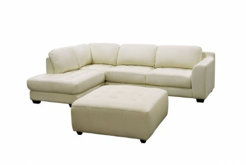 Diamond Sofa ZENLF2PCSECTOTTOE Zen Collection Left Facing Chaise 2PC Sectional with Square Cocktail Ottoman by Diamond Sofa - Eggshell