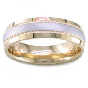 Women's 14k Two Toned Gold Sandblast Stripe Comfort-Fit Wedding Band (6.50 mm)
