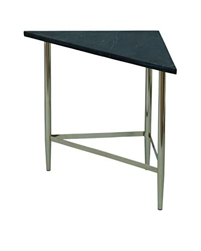 City Scape Accents Alton Triangle Table, Silver/Black