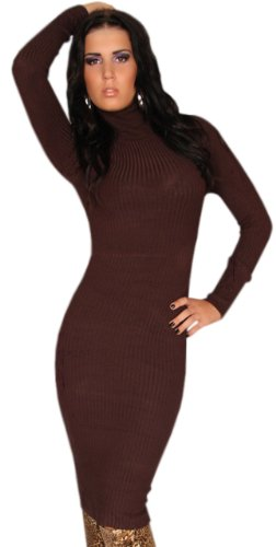 instyle-robe-uni-manches-longues-femme-marron-marron-taille-unique
