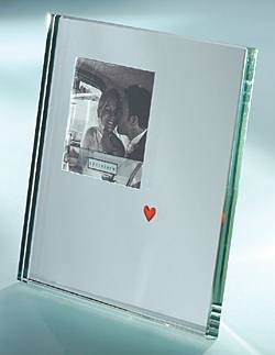 Red heart mirror photo frame
