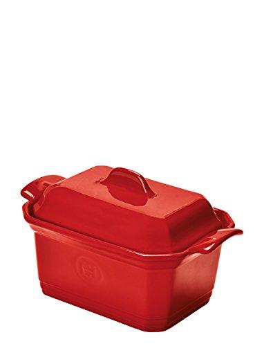 Emile Henry EH349706 Terrine à Foie Gras 0,6 litres avec Presse Céramique Rouge Grand Cru 19 x 12 x 10 cm