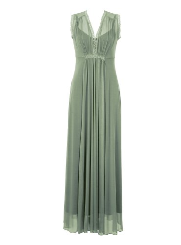 Victorian Style Green Evening Cap Sleeves Maxi Dress Beautifully Designed by Michal Negrin with V-Neck, Fitted Bustline, Pleated Front and Lace Trim ; Handmade in Israel - Size S