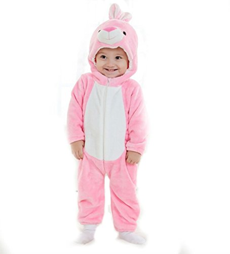 Unisex-baby Spring and Summer Thin Flannel Animal Romper Pink Bunny Onesie Suit