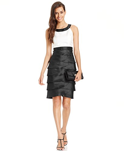 Jessica Howard Colorblocked Tiered Cocktail Dress, Ivory/Black, 10