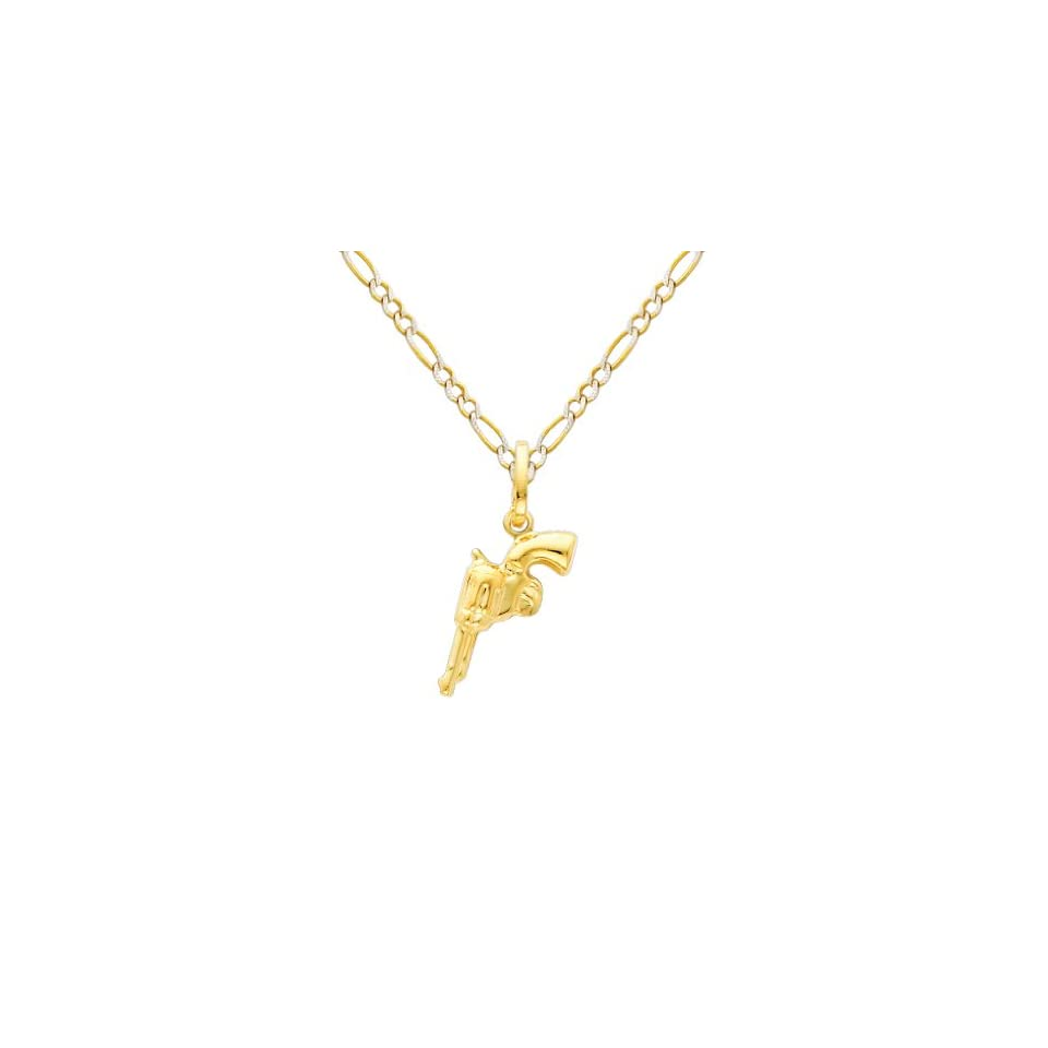 14K Yellow Gold Revolver Hand Gun Charm Pendant with Yellow and White 2 Two Tone Gold 1.8mm Figaro White Pave Chain Necklace with Spring Clasp   Pendant Necklace Combination (Different Chain Lengths Available)