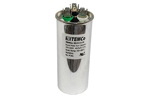TEMCo Dual Run Capacitor RC0108 - 40/5 mfd 370 V 440 V VAC volt 40/5 uf AC Electric Motor HVAC (Hvac Dual Capacitor compare prices)