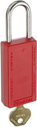 "Master Lock 411 Series Zenex Lockout/Tagout Padlock, Keyed Alike, 3"" Body Length, 1-1/2"" Shackle Clearance"