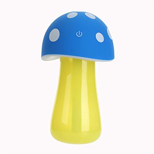 TaoTech 卓上 USB キノコ型 超音波加湿器 ミニ アロマ ディフューザー LEDライト 付 可愛い 人気 エコ 携帯 便利  防カビ (ブルー)