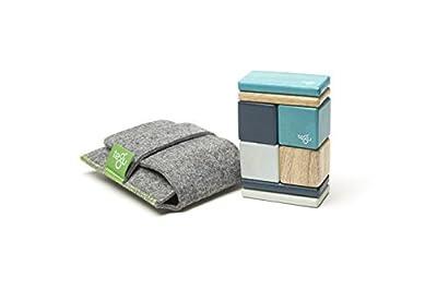 8 Piece Tegu Pocket Pouch Magnetic Wooden Block Set, Blues by Tegu