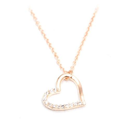 [Priva] priva Smart 14 CZ diamond open heart ladies pendant necklace pink
