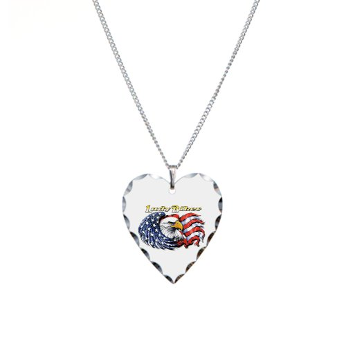 Necklace Heart Charm Lady Biker with United States US Flag and Eagle