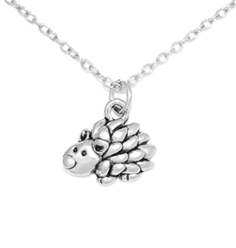 Clayvision Hedgehog Porcupine Charm Necklace with No Swarovski Crystal