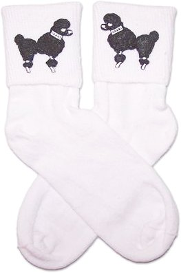 Hip Hop 50s Shop Girls Bobby Sock With Black Poodle Applique Child Size (Saddle Shoes For Girls compare prices)