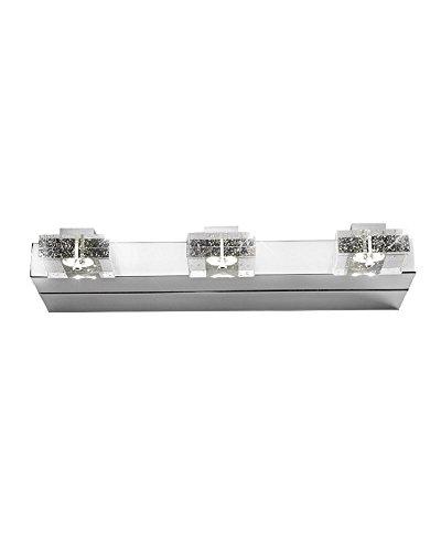 Parrotuncle Stainless Steel Base Crystal Bar Led 3 Lights Wall Mirror Light Vanity Bathroom Lighting
