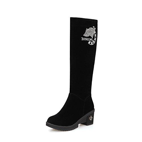 balamasa-girls-square-heels-glass-diamond-platform-pull-on-black-frosted-boots-4-uk