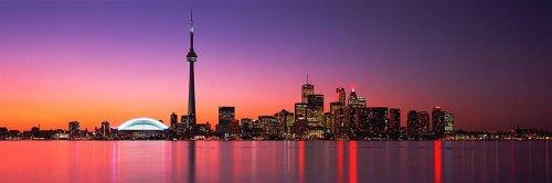Walls 360 Peel & Stick Wall Murals: Toronto Skyline Purple Dusk (84 in x 28 in)