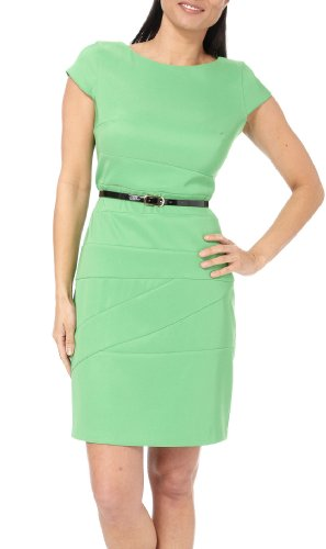 AGB Stitched Panel Belted Sheath Dress EMERALD GREEN 6