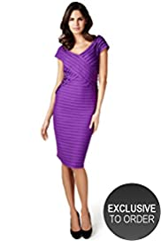 Per Una V-Neck Pleated Bodycon Dress