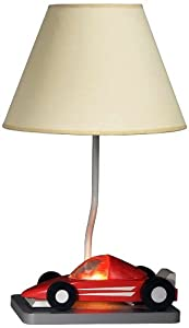 Cal Lighting BO-5670 Kids Novelty Lamp with Beige Fabric Shades, Red Race Car in White Finish ...