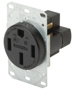 Hubbell Wiring 606219 Range & Dryer Receptacle 50A 3P 4Wire Black