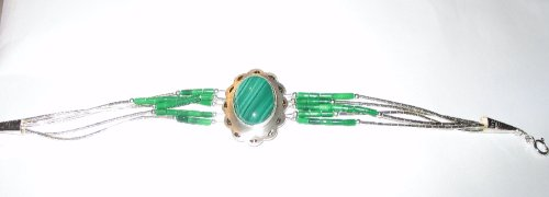 Native American Handcrafted Green Malachite Bracelet - Buy Native American Handcrafted Green Malachite Bracelet - Purchase Native American Handcrafted Green Malachite Bracelet (Roger Enterprises, Apparel, Departments, Accessories, Women's Accessories)