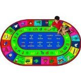 "Joy Carpets Kid Essentials Language & Literacy Oval Spanish LenguaLink Rug, Multicolored, 5'4"" x 7'8"""