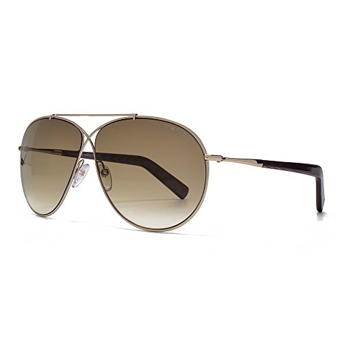 Tom Ford Eva Aviator Sunglasses in Shiny Rose Gold Gradient Brown FT0374 28F 61