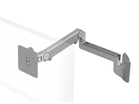 Humanscale m8hs2s M8supporto da parete con braccio orientabile per singolo monitor dritto (Maximum portata 18kg, altezza di regolazione: 292mm, portata del braccio: 558mm, VESA MIS-D) grigio